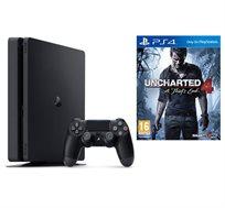קונסולה Playstation 4 SLIM בנפח 500GB כולל בקר ומשחק UNCHARTED 4 וסטנד שולחני מתנה!