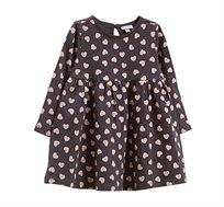 שמלת OVS לבבות לפעוטות - אפור כהה/ורוד בהיר