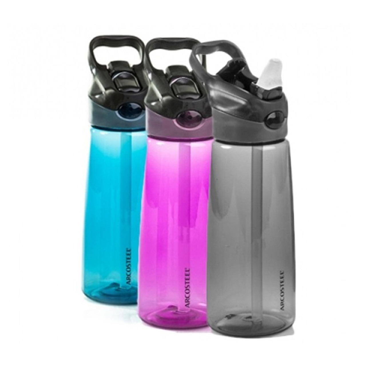 """בקבוק שתיה עם פיית סיליקון וקש 650 מ""""ל בצבעים לבחירה"""
