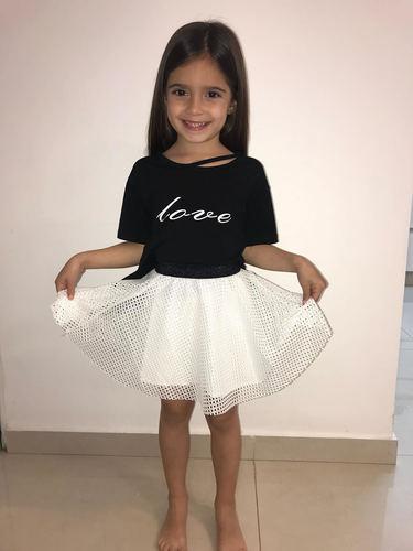Oro חליפת חצאית רשת (7-2 שנים)- שחור חצאית לבנה