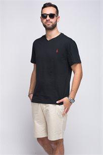 חולצת טישרט שחורה צווארון V לוגו אדום POLO RALPH LAUREN