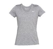 חולצה טי לנשים Under Armour Tech Twist V-Neck T-Shirt  בצבע אפור