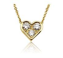 שרשרת עם תליון יהלומים לב רוז'- זהב צהוב