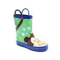 Magma Rain Boot - מגפי גומי מגמה לילדים בהדפס קופים בצבע כחולירוק