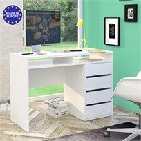 שולחן כתיבה לבן מבריק עם שידת מגירות ותאי אחסון תוצרת אירופה HOME DECOR