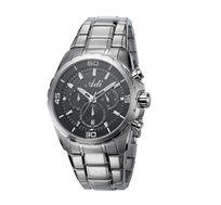 שעון יד כרונוגרף פלדת אל חלד לגברים - כסף שחור
