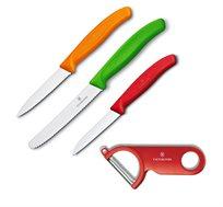 סט שלושה סכיני מטבח שוויצריים + קולפן מתנה VICTORINOX