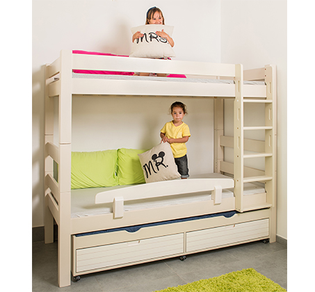 מיטת קומותיים דגם טינה עשויה עץ מלא עם ידיות אינטגרליות במגוון צבעים לבחירה HIGHWOOD - תמונה 2