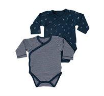 מארז זוג בגדי גוף לתינוקות בצבע פסים בלבן עם כחול נייבי, כחול נייבי מודפס מיננה