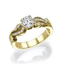 """טבעת יהלומים """"ג'ני"""" בעיצוב וינטאג' 0.71 קראט זהב צהוב"""