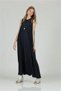 שמלה סאטן מקסי גומי כחול - קקאו