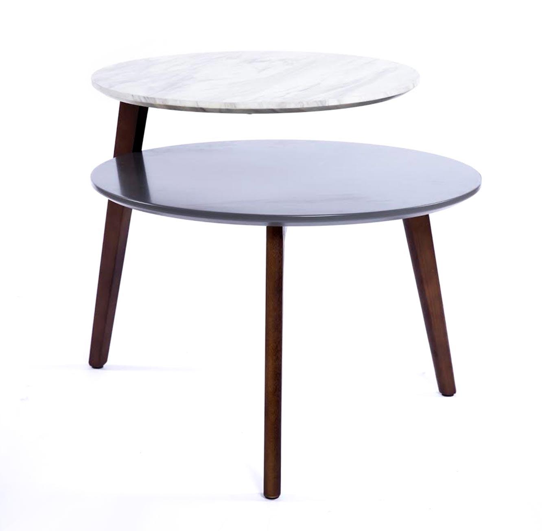 שולחן קפה עגול בסגנון מודרני בעל 2 מפלסי עץ