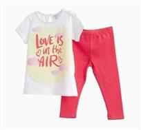 סט חולצה ומכנסיים לתינוקות וילדות בצבעי לבן וורוד עם הדפס