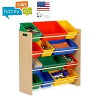 """ארגונית מושלמת לילדים מעץ איכותי הכוללת 12 קופסאות אחסון מבית honey can do ארה""""ב"""