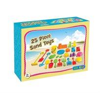 ערכת כלי למשחק בחול כוללת 25 חלקים צבעוניים למשחק מגוון בים או בגן שעשועים starplast