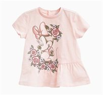 חולצה קצרה לתינוקות וילדות בצבע ורוד בהיר עם הדפס מיני מאוס