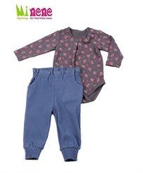 קולקציית חורף 2015 ב-Minene! חליפת בנות הכוללת בגד גוף פרחים + מכנס ג'ינס