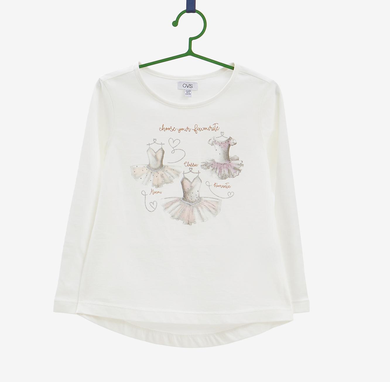 טישרט שרוולים ארוכים OVS לילדות - לבן עם הדפס נוצץ ואבנים