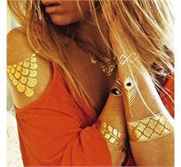 הטרנד החדש והלוהט של האופנה! 4 גיליונות של קעקועים זמניים מטאלים בצבעי זהב וכסף בעיצובים מרשימים
