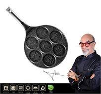 """מחבת סמיילי לפנקייק 26 ס""""מ מיציקת אלומיניום וציפוי שיש שחור מסדרת Black Rock של השף אהרוני ROSOPRO - משלוח חינם!"""