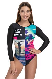 בגד ים שלם שרוול ארוך Pilpel בהדפס גלישה צבעוני לנערות