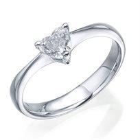 """טבעת יהלום """"לב"""" 0.47 קראט Vs1 זהב לבן"""