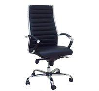 כיסא משרדי לשימוש במשרד מרופד דמוי עור שחור דגם שי גב גבוה