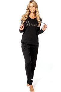 חליפת פנאי אינטרלוק לנשים הפנתר הורוד בצבעים שחור או ורוד בייבי