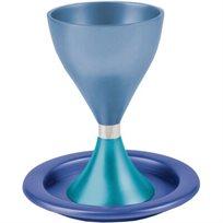 גביע לקידוש + צלחת אנודייז אלומיניום בעבודת יד EMANUEL