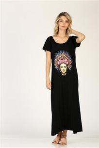 שמלה פרידה ומחשוף - שחור - CUBiCA