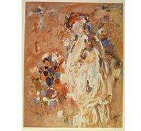 """מסגרת מתנה! """"נערה"""" - ציורה של אהרונוביץ' רחל, הדפס בחתימה אישית בגודל 89X65 ס""""מ"""