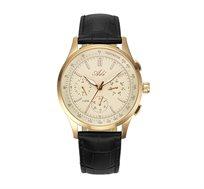 שעון כרונוגרף אלגנטי עם רצועת עור עמיד במים לגברים - זהב חום
