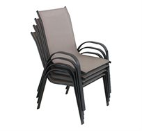סט הכולל ארבעה כיסאות המתאימים לבית או לחוץ ניתנים לערימה מבד רשת קל לניקוי CAMP IN