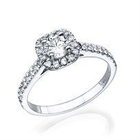 """טבעת זהב לבן 0.71 קראט """"אלה"""" בשיבוץ יהלום בעיצוב קושיין"""
