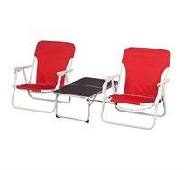 סט שני כיסאות פיקניק וחוף + שולחן זוגי מתקפל