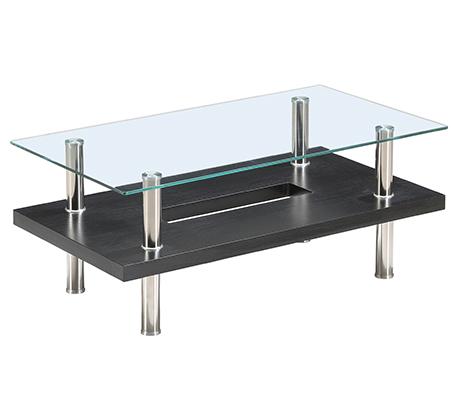 שולחן זכוכית מלבני לסלון דו קומתי בעיצוב מודרני