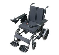כסא גלגלים ממונע מתקפל בעל משענת ומושב מרופדים