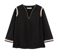 חולצה עם עיטורי זהב ופסים נוצצים Promod לנשים בצבע שחור