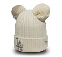 New Era יוניסקס// כובע Pom Cuff White