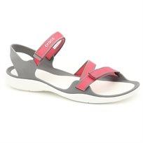 Crocs Swiftwater Webbing Sandal - סנדל שטוח בצבע ורוד עם רצועות מתכווננות