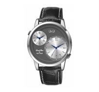 שעון יד לגבר Q&Q עם 2 איזורי זמן בצבע אפור