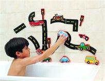 סט דמויות להתאמה ומשחק באמבטיה - כבישים ומכוניות