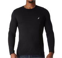 חולצה לגבר עם שרוולים ארוכים ולוגו קטן NAUTICA דגם V837040TB בצבע שחור