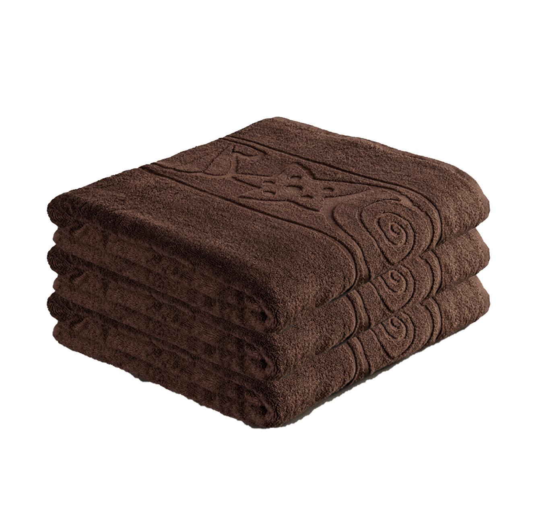 סט 3 מגבות אמבט בצבע חום בעיטור צדפים