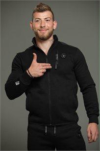 חליפה ספורטיבית עם קפוצ'ון לגברים בצבע שחור