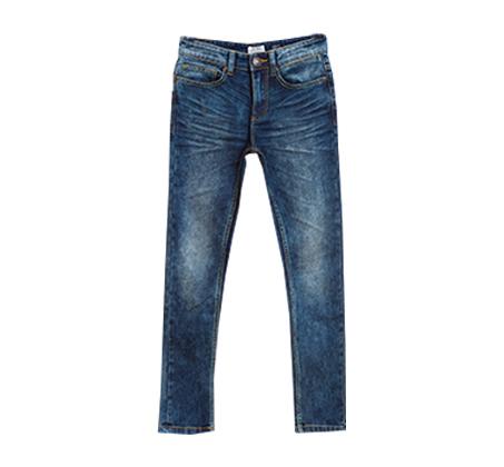 מכנסיי ג'ינס OVS משופשפים לנוער - בצבע כחול ים