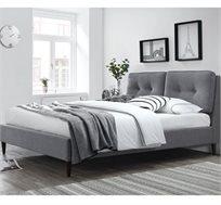 מיטה זוגית מעוצבת בריפוד בד עם כריות ראש ובסיס מעץ מלא דגם קרליטה HOME DECOR