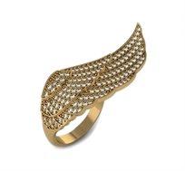טבעת מעוצבת בצורת כנף בזהב 14K משובצת 100 יהלומים