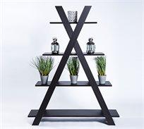 יחידת ארבע מדפים דקורטיבית בצבע שחור לאחסון וארגון לסלון, לחדר השינה או לחדר העבודה דגם פירמידה