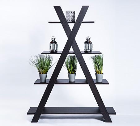 יחידת מידוף דגם פירמידה בצבע שחור 4 מדפים